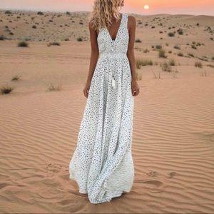Bohemian V Neck Polka Dot Maxi Dress